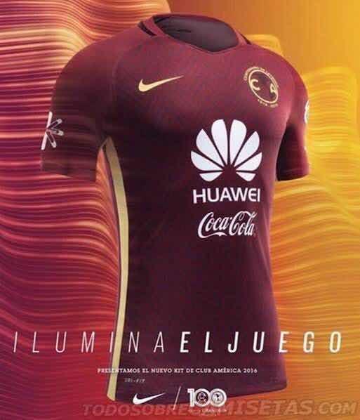 caa9a258b15ff Jersey Nike América Visita Centenario 16 17 S n° - Vino -   2