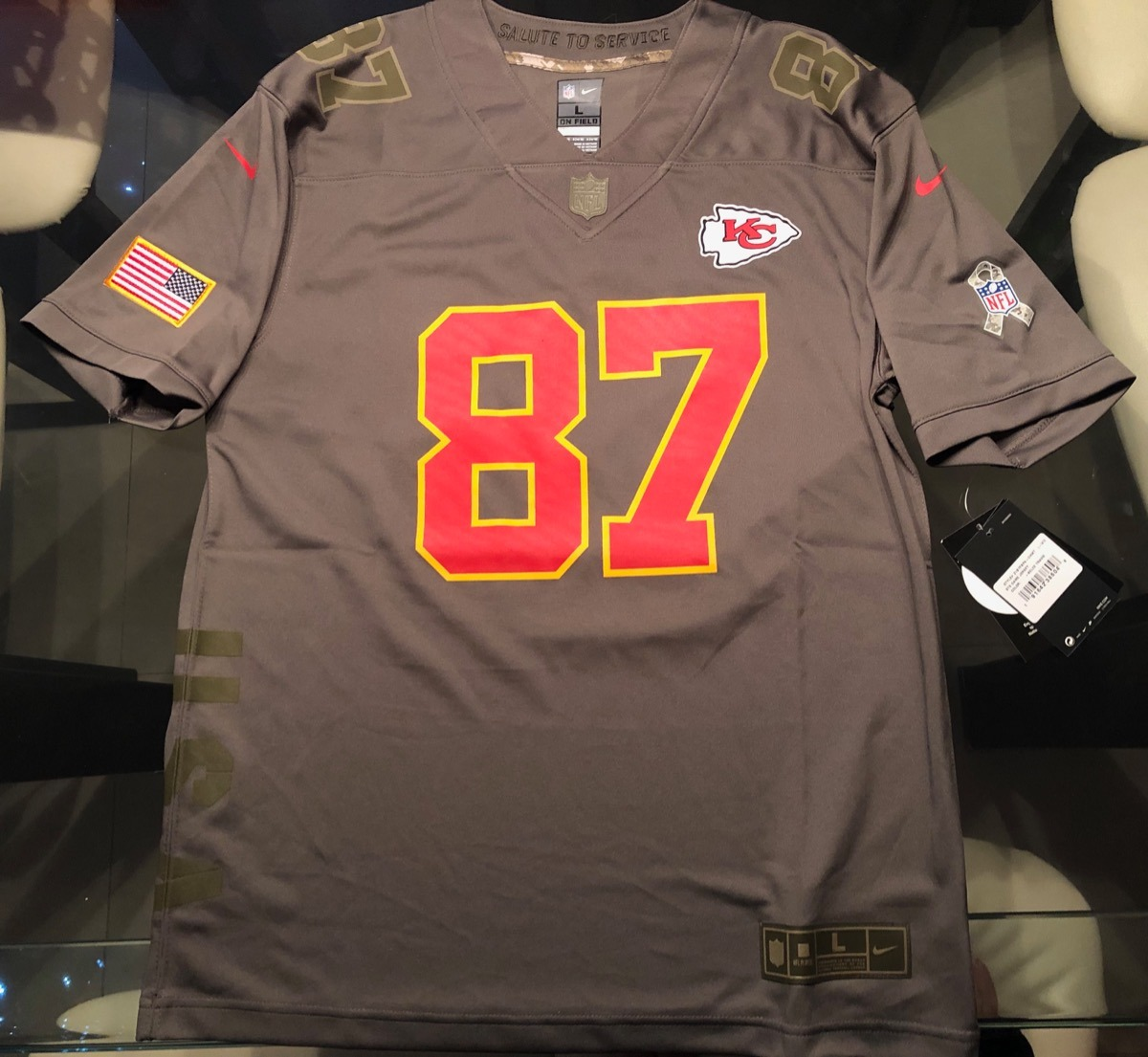 more photos 433c3 aaf10 Jersey Nike Kansas City Chiefs Salute To Service Kelce 87