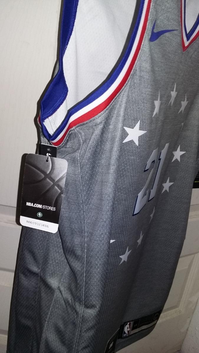 6afc4bf7486 jersey nike nba joel embiid 76ers city edition talla m(44). Cargando zoom.