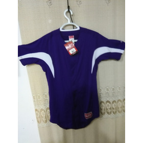 Jersey Para Beisbol Rawlings Men Full Boton Purpura Talla S