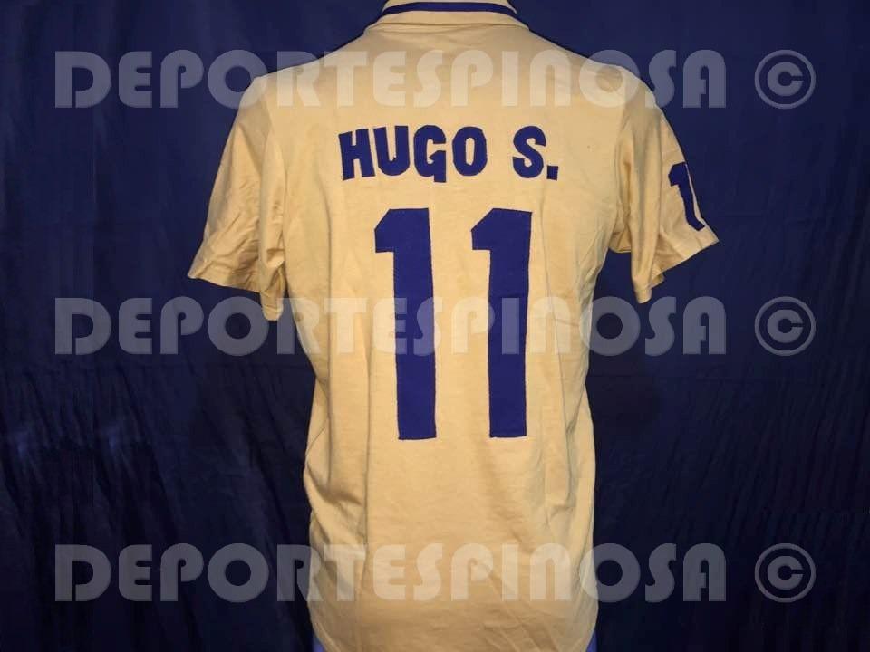 newest fa589 653b8 Jersey Pumas Retro 80s 90s Oro Manga Corta #11 Hugo Sanchez