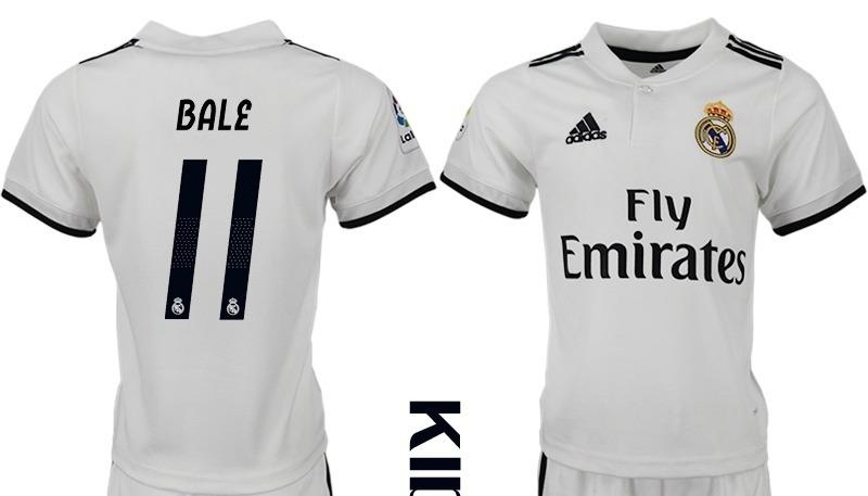 6183b2cc4a794 Genial Jersey Real Madrid Local Niño Blanco 2019 Bale 11 ...