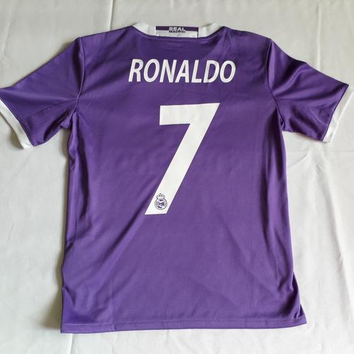 jersey real madrid ronaldo original de niño morada 2016-2017