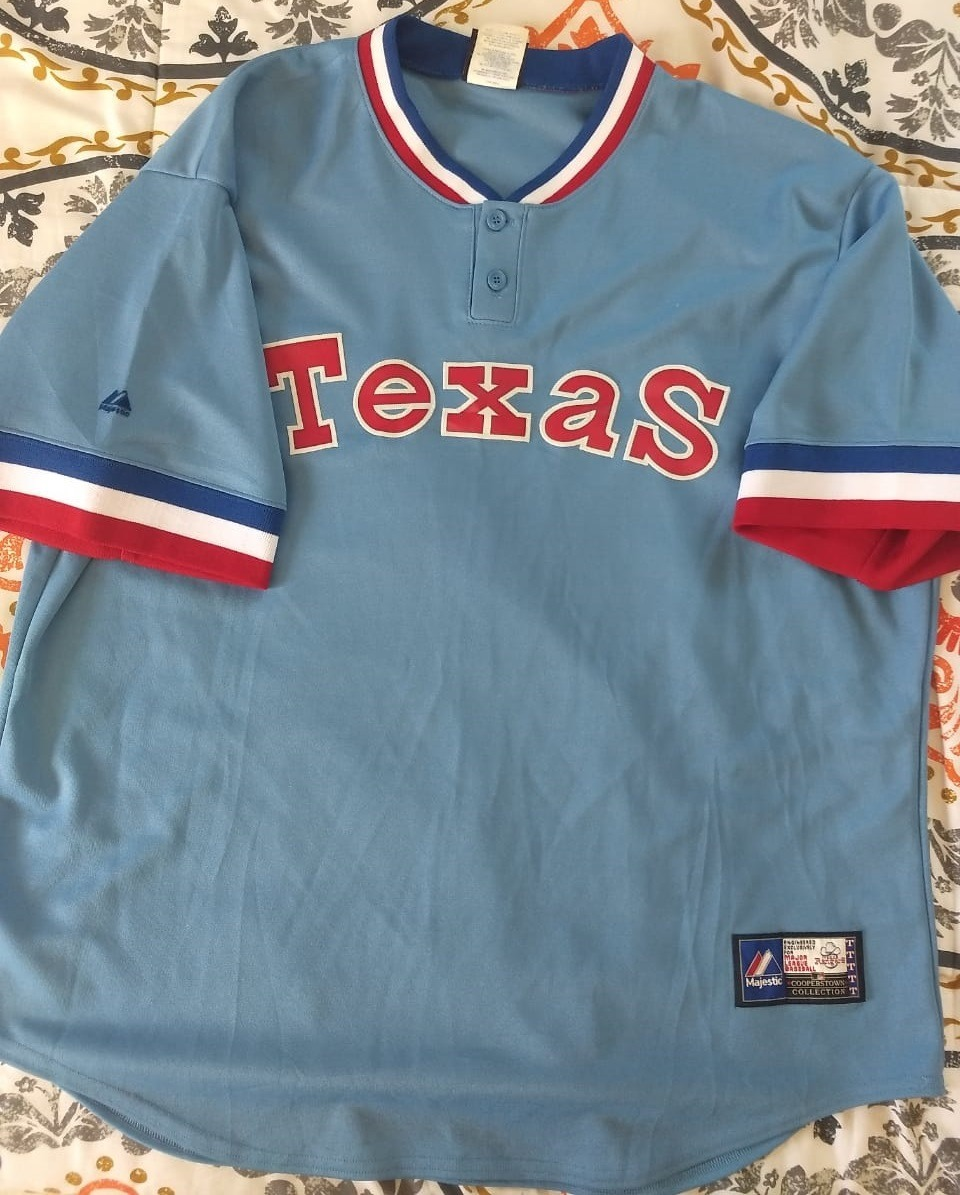 new concept cc15e 4f6d0 Jersey Texas Rangers Retro, Majestic, Talla Xxl