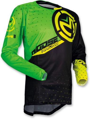 jersey todoterreno moose racing para hombre verde/negro md