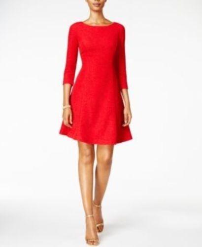 167a0b831 Jessica Howard Vestido Rojo Brillantina 3 4 Linea A Mujer 8 ...