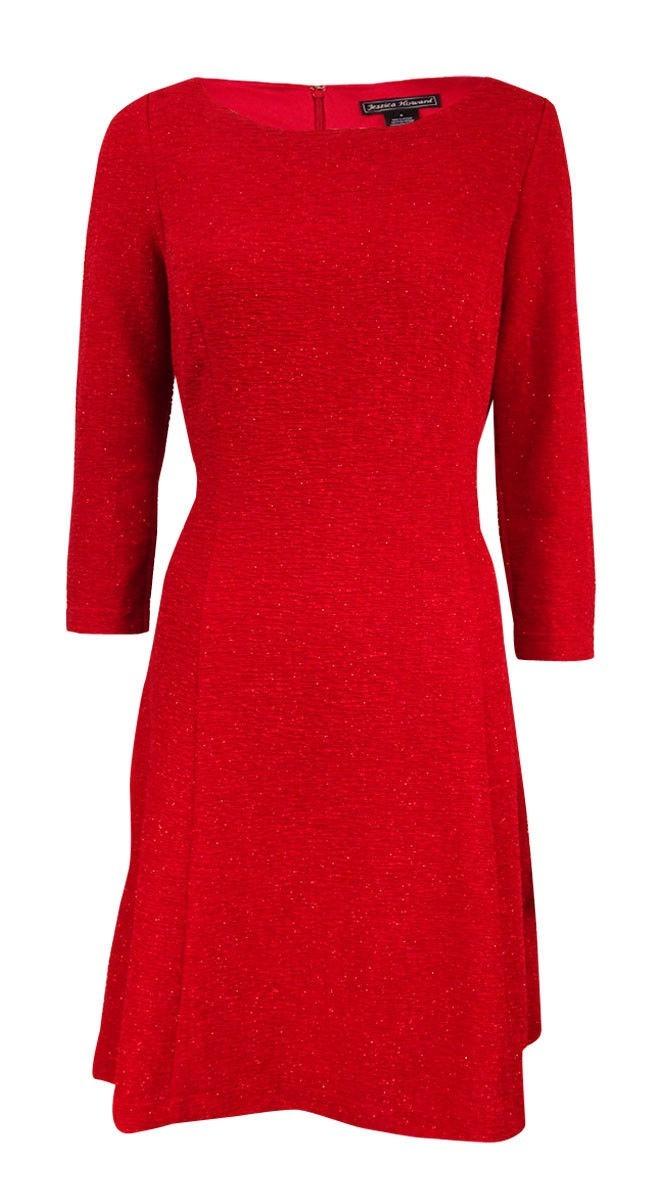 095559cb6 jessica howard vestido rojo brillantina 3 4 linea a mujer 8. Cargando zoom.