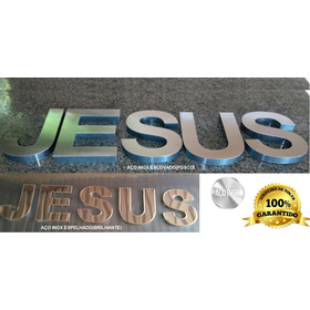 Jesus - Em Aço Inox Para Igreja Letreiro Caixa 3d Letra 40cm