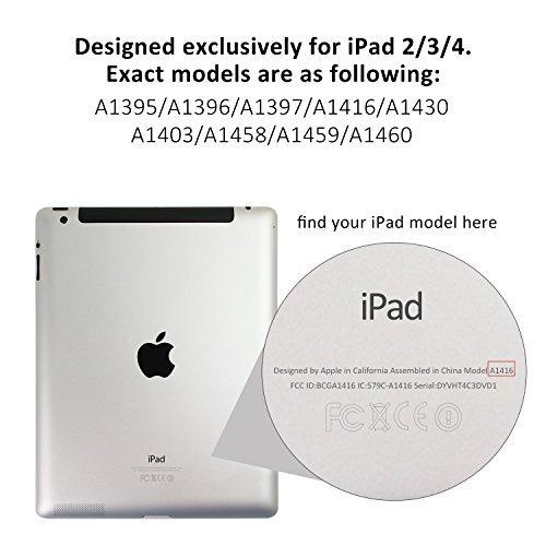 jetech ipad 2/3/4 funda con protección trasera para apple ip
