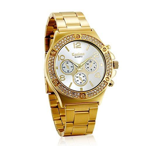 a3fdf9dae681 Jewelrywe Mujeres De Lujo Hombres Unisex Dorado Banda De Ace ...