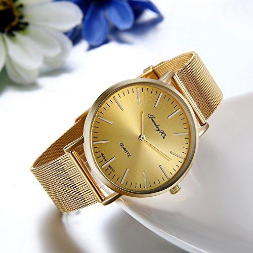 d802cb1352e9 Jewelrywe Relojes De Moda Reloj De Pulsera De Cuarzo Dorado ...