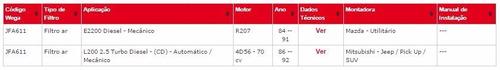jfa 611 filtro do ar daihatsu feroza 1.6i