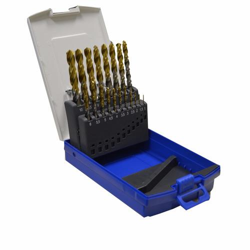 jg brocas aço rápido 1a10mm 19peças revestida titanio tw100