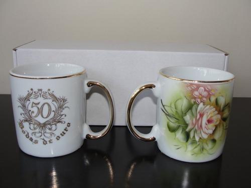 jg de canecas em porcelana bodas de ouro
