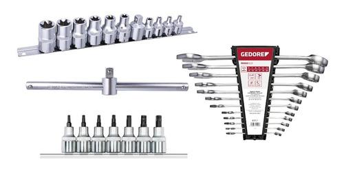 jg de chave combinada 6-22m + soquetes + cabo t + adaptador