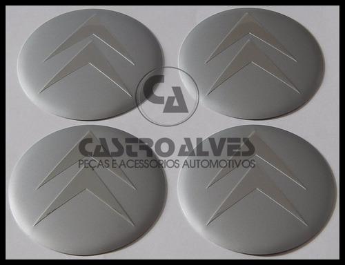 jg emblema adesivo calota roda citroen prata 55mm - 4 pçs