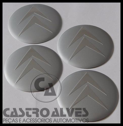 jg emblema adesivo calota roda citroen prata 65mm - 4 pçs