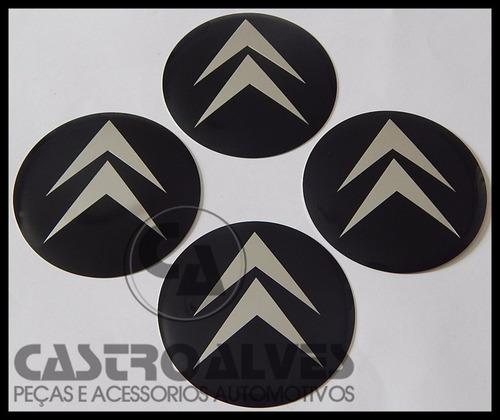jg emblema adesivo calota roda citroen preto 58mm - 4 pçs