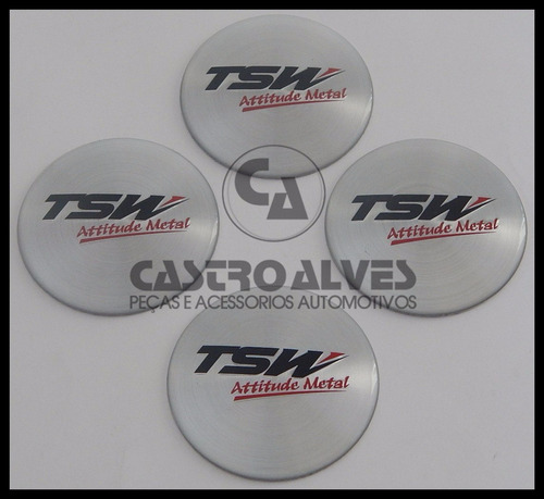 jg emblema adesivo calota roda tsw 51mm/5,1cm prata - 4 pçs