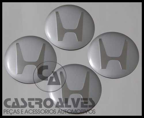 jg emblema adesivo honda calota roda 11,7cm prata - 4 pçs