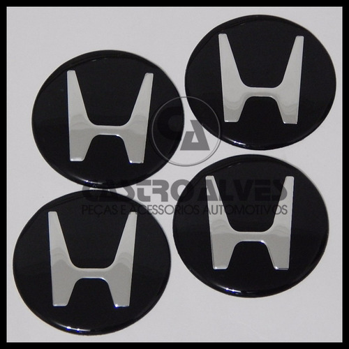 jg emblema adesivo honda calota roda 69mm preto - 4 pçs