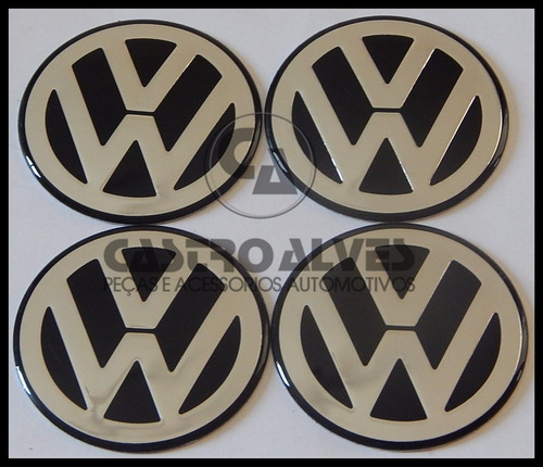 jg emblema adesivo volkswagen vw roda 58mm prata - 4 pçs