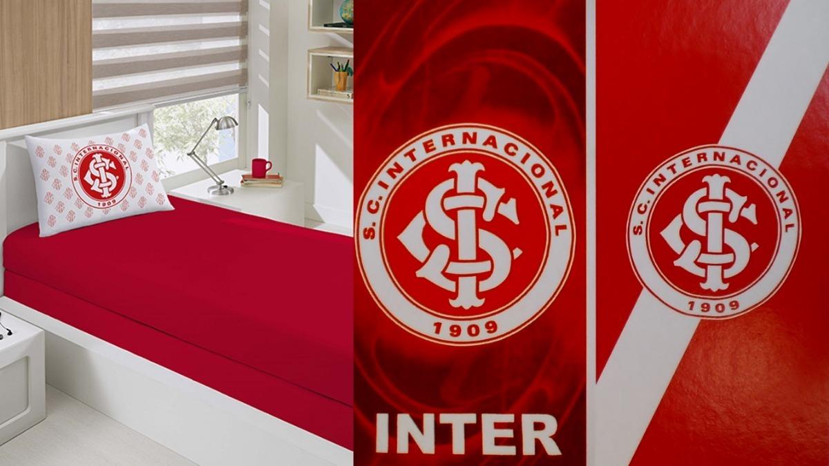 Jg Lençol Solt + 2 Toalhas Banho Futebol Inter Oficial - R  199 f8b82c26504d1