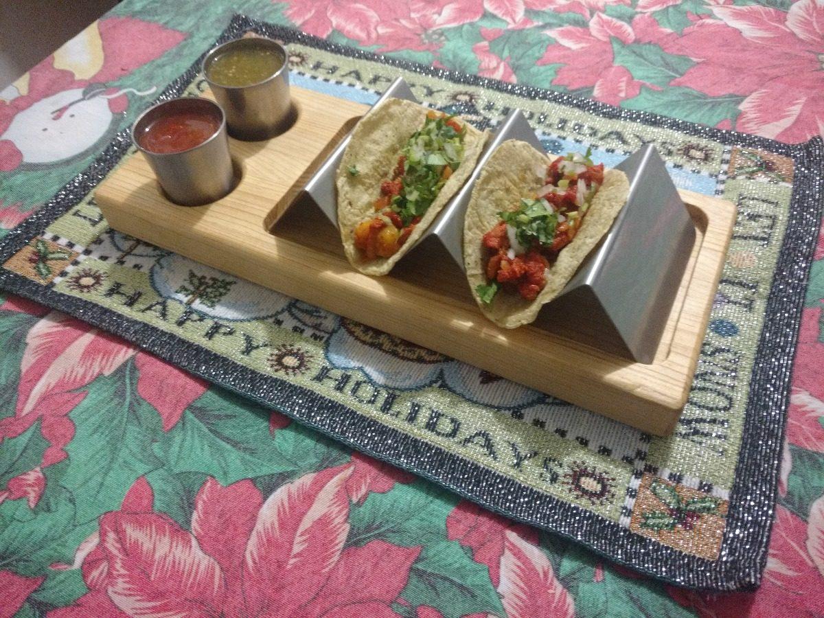 Comprar Muebles De Cocina : Jgo plato taquero madera porta tacos acero inoxidable