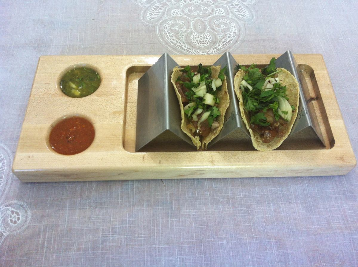 Jgo 5 plato madera porta tacos acero inoxidable salseras2 - Tacos de madera para muebles ...
