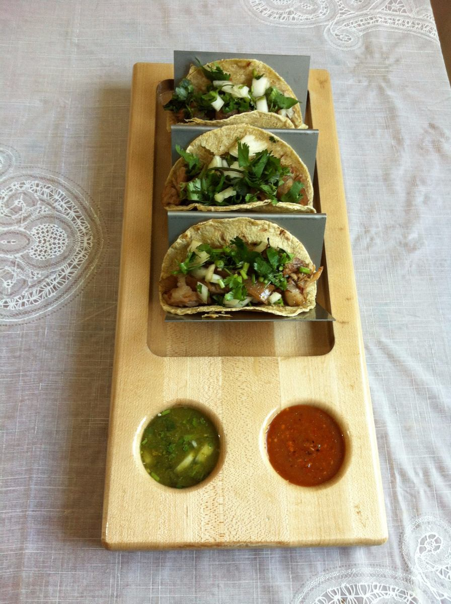 Jgo 6 plato taquero madera porta tacos acero inoxidable - Tacos de madera para muebles ...