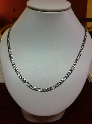 jgo cadena 60cm y pulso 18cm en acero y chapa de oro blanco