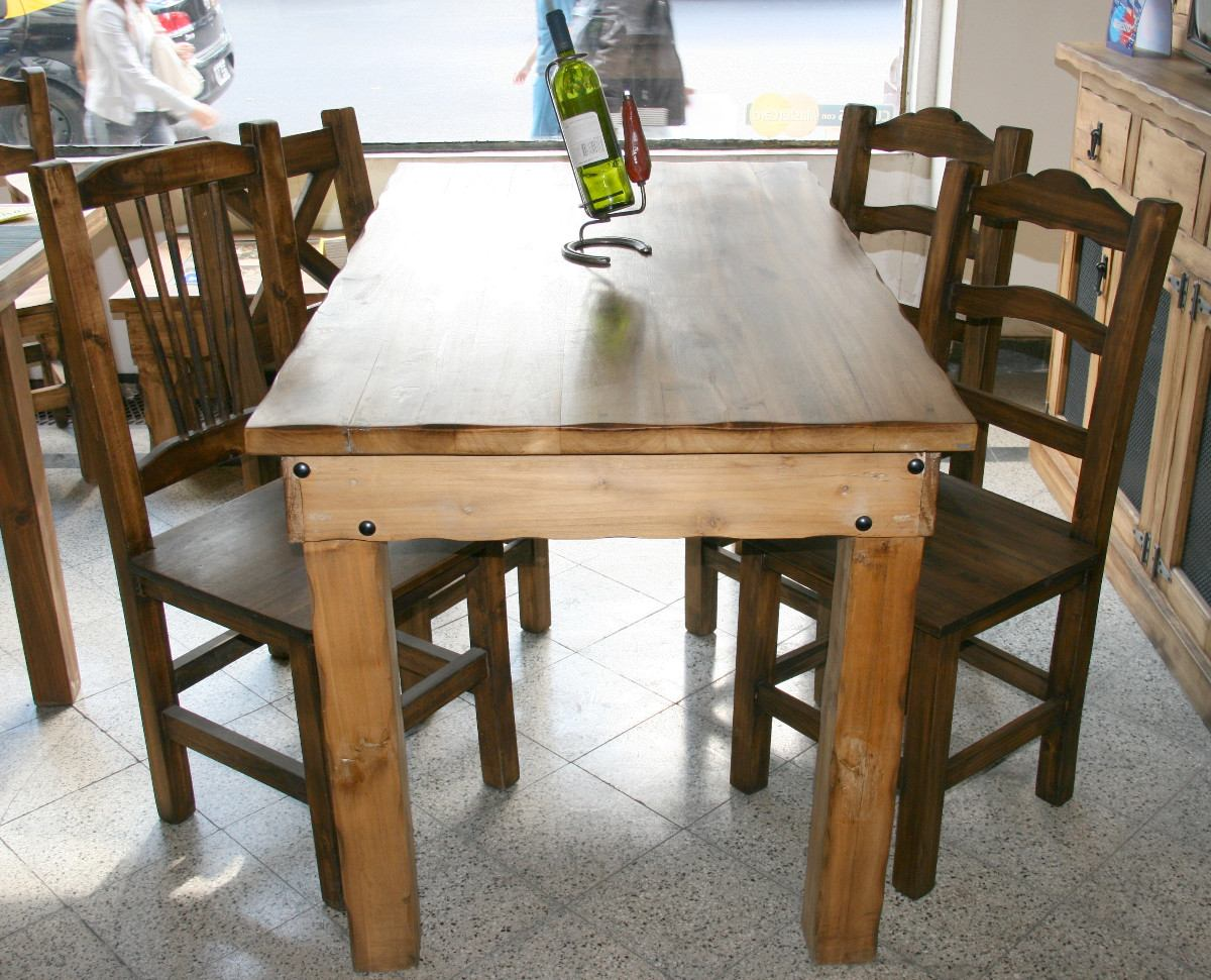 Jgo Comedor Mesa 1,60x0,80 Lisa/trabajada C/4 Sillas Rústica ...