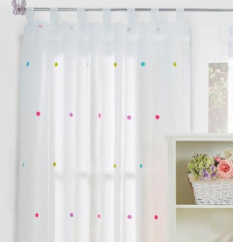 jgo cortinas translucidas bordadas dots vianney envio gratis