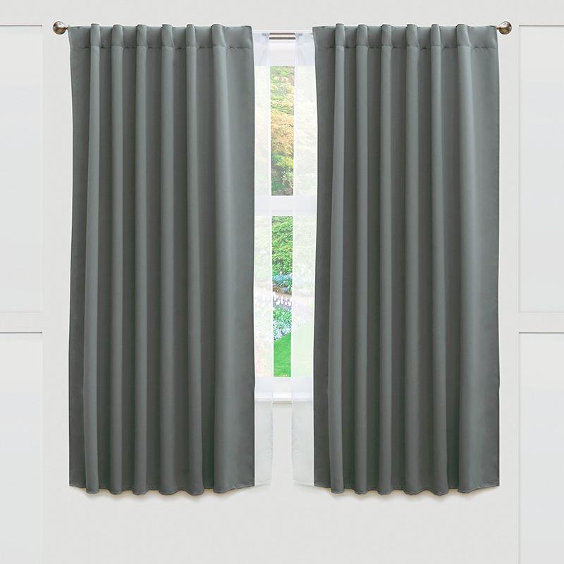 Jgo de 2 cortinas cortas blackout gris vianney envio for Cortinas grises