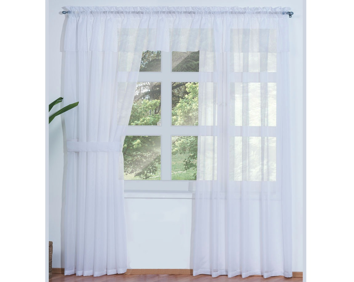 Jgo de 2 cortinas translucidas blancas transparentes for Cortinas blancas