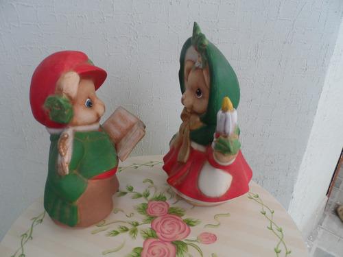 jgo de 2 osos navideños ceramica pintados a mano