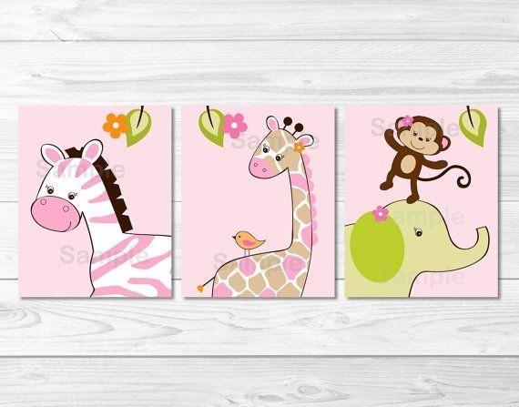 Jgs de tres cuadros para ni os decorativos y individuales for Cuadros habitacion bebe