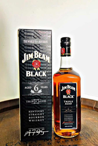 jim beam black 6 años triple aged con estuche whisky