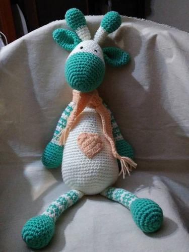 jirafa tejido crochet a mano bebe   el cristal encantado