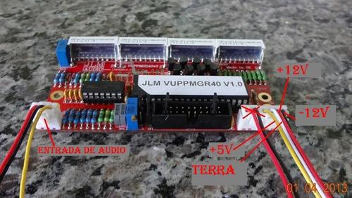jlm - vu meter 40 led bicolor / com retenção de pico
