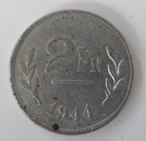 jm* belgica 2 francos 1944 unc - segunda guerra - escasa
