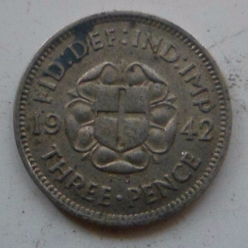 jm* inglaterra plata 3 pence 1942
