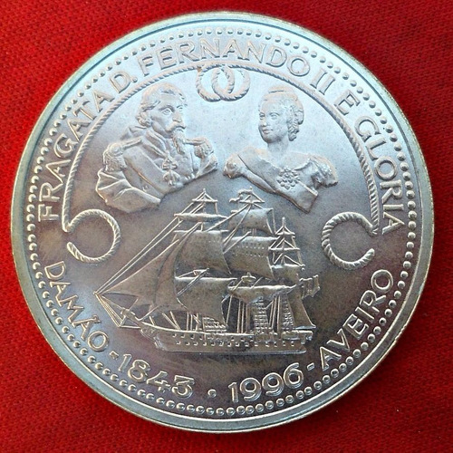 jm* portugal plata 1000 escudos 1996 - unc 40 mm