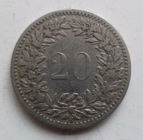 jm* suiza 20 rappen 1887 - escasa