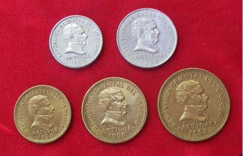 jm * uruguay 1965 lote completo - 5 monedas