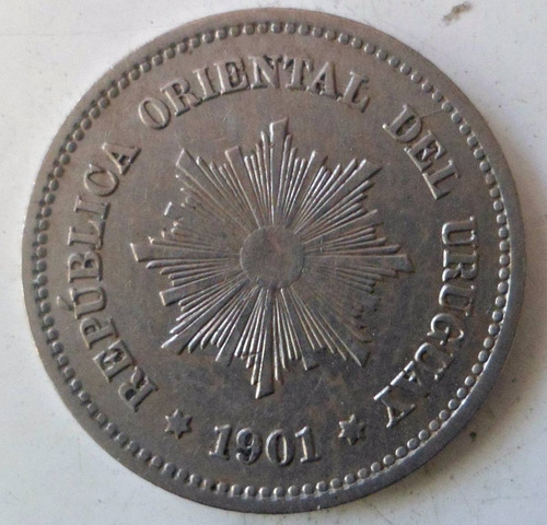 jm* uruguay 5 centesimos 1901 - au/unc