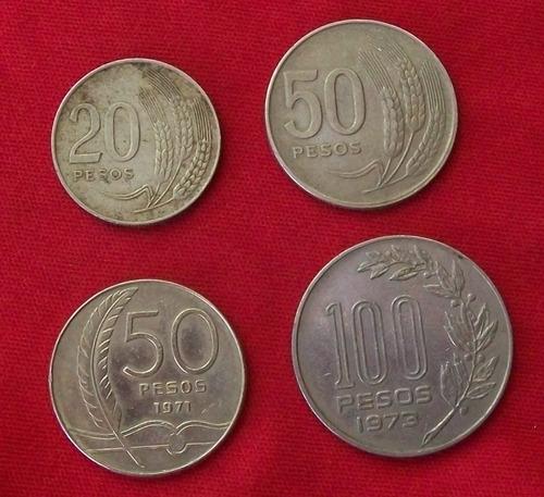 jm * uruguay lote x 4 monedas: 1970 dos, 1971 y 1973