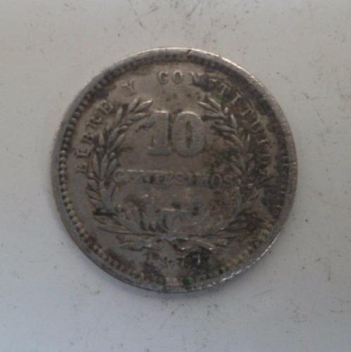 jm* uruguay plata 10 centesimos 1877