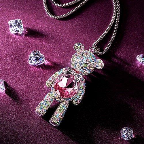 j.nina teddy bear rosa rosa swarovski cristales colgante col