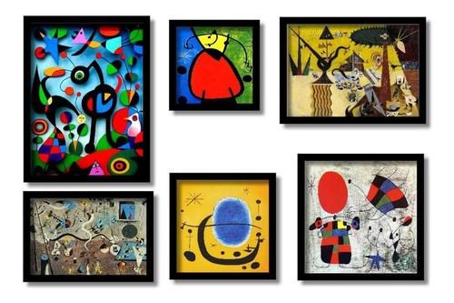 joan miro  quadros famosos seleção melhores kit6 quadros